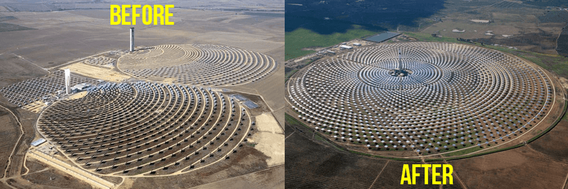 gemsolar solar power plant array before and after