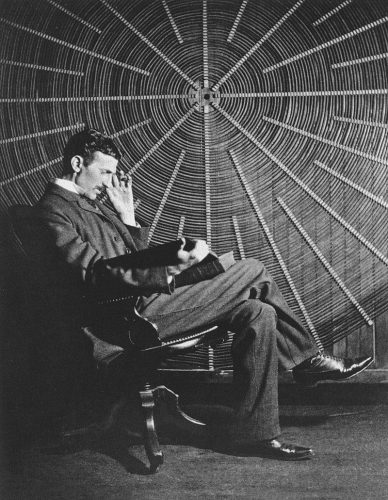 nikola tesla reading a book