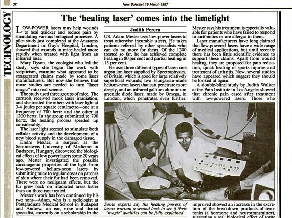 Your ultimate guide to red light therapy endalldisease 1987 crticle in new scientist showing adam mester treating incurable ulcers with lasers fandeluxe Gallery