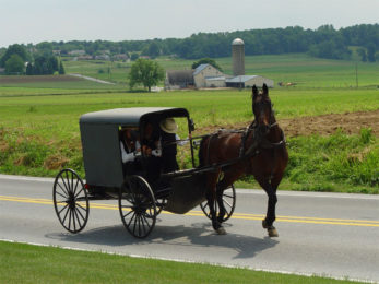 An Amish family riding in a traditional Amish buggy in Lancaster County, Pennsylvania