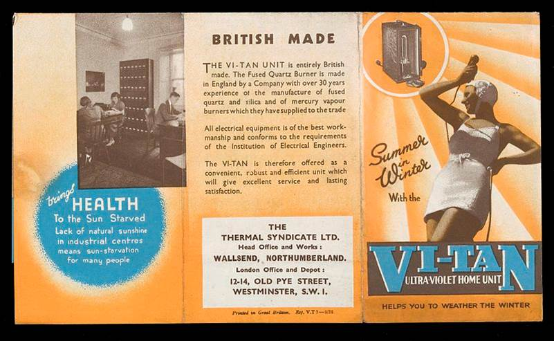 Brochure of the Vi-Tan ultraviolet mercury vapor light therapy bath from the early 1900s.