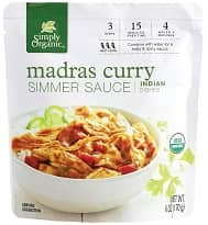 Organic Madras Curry Simmer Sauce